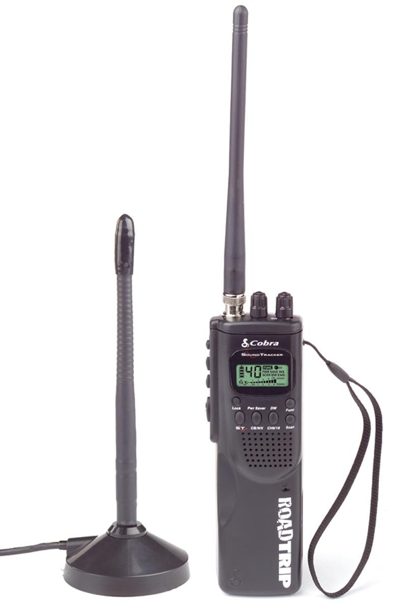 HH ROAD TRIP Hand Held 40 Channel CB Radio with Mobile Antenna, 10 Weather Channels and Soundtracker Noise Reduction by Cobra