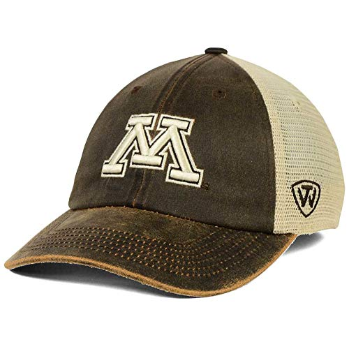 Top of the World Minnesota Golden Gophers Scat Vegan Suede Slouch Mesh Snapback Dad Cap Hat