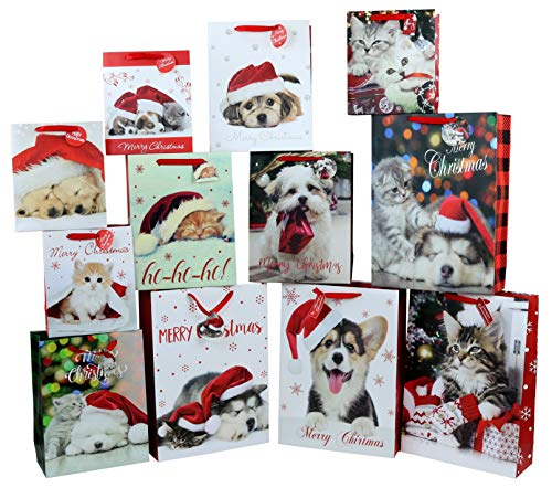 Iconikal Christmas Gift Bags, Puppies and Kittens, 12-Count (Christmas Kittens Puppies And)