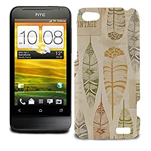 Phone Case For HTC One V - Vintage Feathers Tribal Glossy Lightweight