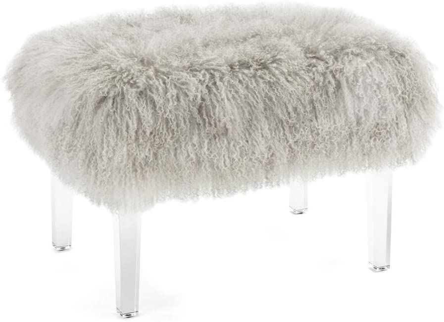 IMAX Brietta Tibetan Fur and Acrylic Bench - Gray, Luxurious Faux Fur Bench with Cushioned Seat. Home Decor Accessories