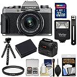 Fujifilm X-T100 Digital Camera & 15-45mm XC OIS PZ Lens (Dark Silver) 32GB Card + Battery + Tripod + Flash + Case + Kit