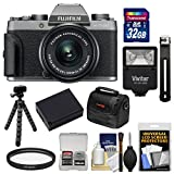 Fujifilm X-T100 Digital Camera & 15-45mm XC OIS PZ Lens (Dark Silver) with 32GB Card + Battery + Tripod + Flash + Case + Kit