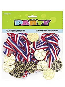 "Unique Party -  Regalitos para Fiesta - Medallas de Oro ""Winners"" - Paquete de 24 (86101)"