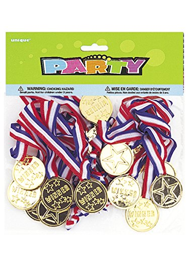 Sports Theme Costumes - Gold Medal Party Game Prizes, 24ct