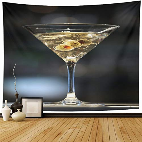 Ahawoso Tapestry Wall Hanging 60x50 Cocktail Vodka Martini On Bar Three Olives Food Drink Shaken Alcohol Alcoholic Bond Home Decor Tapestries Decorative Bedroom Living Room Dorm