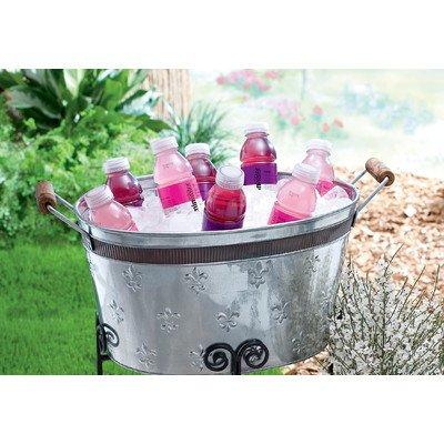 KINDWER Fleur-De-Lis Oval Tub with Copper Band, Silver (Tub Beverage Fleur De Lis)