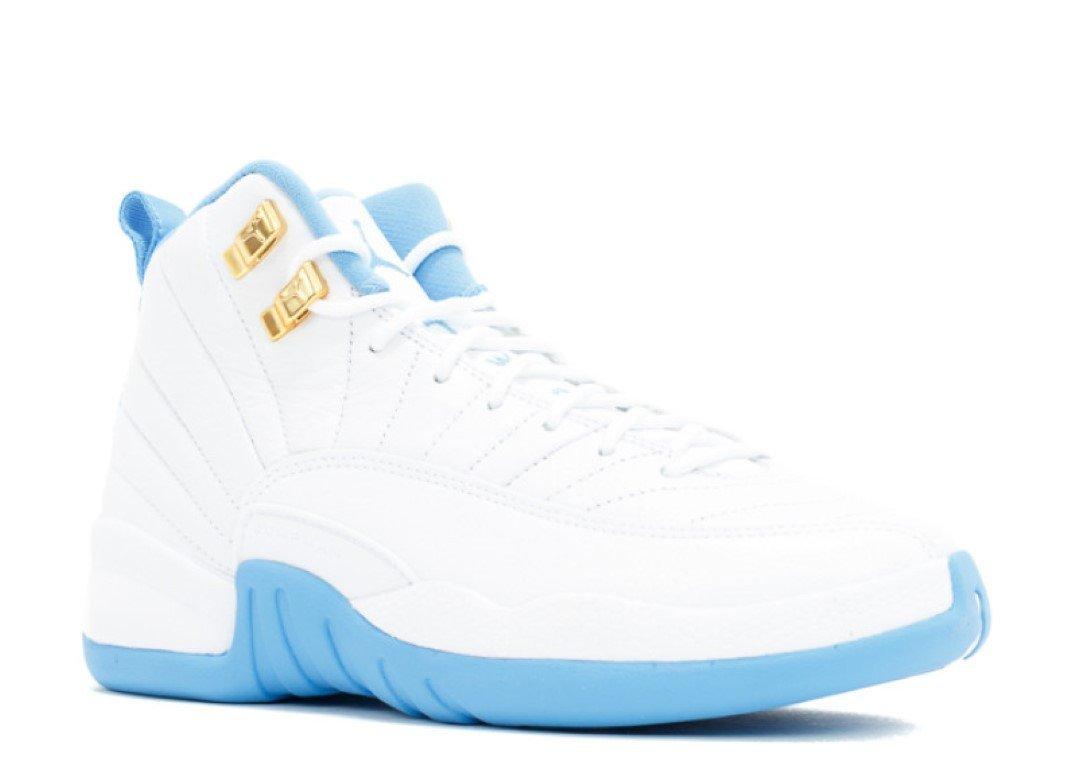 Release 2016 Blue White Basketball Sneaker Air Retro 12 White/Metallic Gold-University Blue 510815-127 Lover Couple Leather Basketball Shoes for Men Women Men 42.5EU=9 D£¨M US