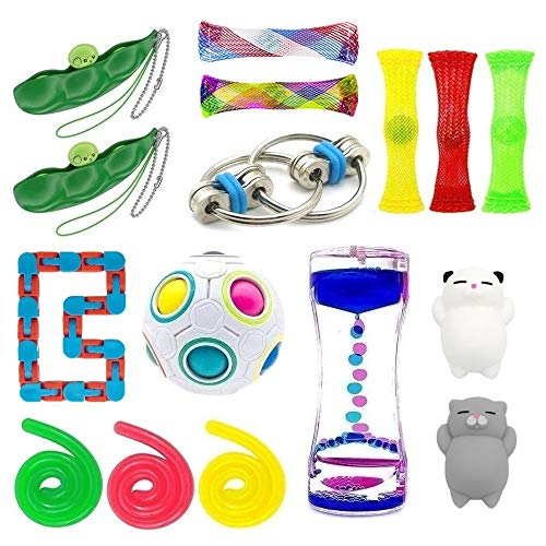 16 Pack Bundle Sensory Toys-Liquid Motion Timer/Rainbow Magic Balls/Bike Chain/Mesh And Marble Toy/Squeeze-a-Bean Soybean/Stretch String Toy for ADD ADHD Stress Relax