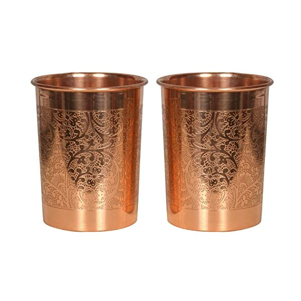 CopperKing™100% Pure Embossed Copper Glass Set of 2, Ayurvedic Health Benefits.