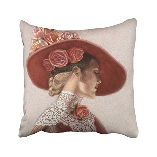 (Capsceoll Elegant Victorian Lady Art Floral Roses hat Decorative Throw Pillow Case 16X16Inch,Home Decoration Pillowcase Zippered Pillow Covers Cushion Cover with Words for Book Lover Worm Sofa Couch)
