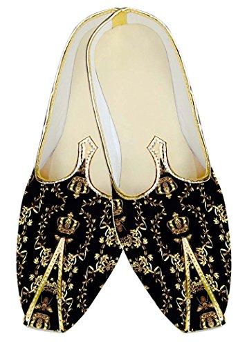 INMONARCH Mens Black Designer Polyester Wedding Shoes MJ14876 Black SLQfNQSIW