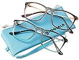 SOOLALA Designer Large Horn Rimmed Clear Lens Eyeglass Frame Reading Glasses, TeaBlue, 2.75