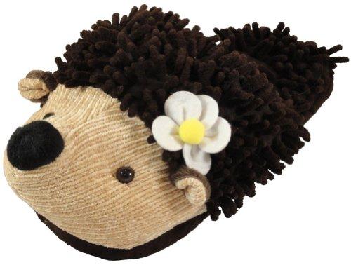 Animal World - Hedgehog Fuzzy Friends Unisex Adult Size Slippers - Large Brown (Adult Hedgehog)