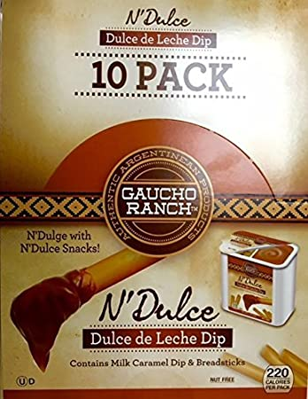 Gaucho Ranch Dulce de Leche Dip -Milk Caramel Dip and Breadsticks Package Contains 10 Packs
