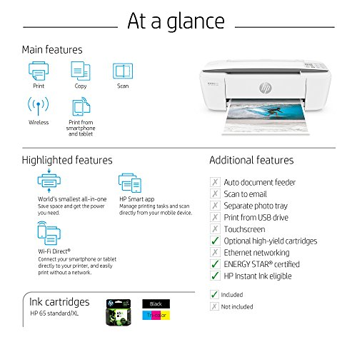 HP DeskJet 3755 Compact All-in-One Wireless Printer with Mobile Printing, HP Instant Ink & Amazon Dash Replenishment ready - Stone Accent (J9V91A) by HP (Image #5)