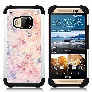 """HTC One M9 /M9s / One Hima - 3 en 1 impreso colorido de Altas Prestaciones PC Funda chaqueta Negro cubierta gel silicona suave (Naranja abstracto púrpura rojo Patrón"""")"""