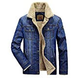 urban outfitters thermal - GWELL Men's Classic Fleece Lined Jeans Coat Casual Winter Thicken Denim Rustic Washed Cowboy Thermal Jacket Outwear (Deep Blue, XL)