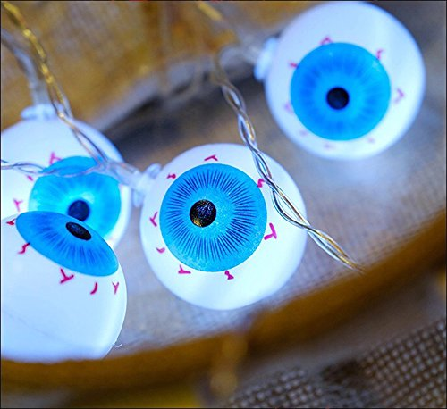 LJM Latest Style 20 Lights Battery Operated Halloween Scary Eyeball For Outdoor Indoor Patio Room Bar Costume Ball -