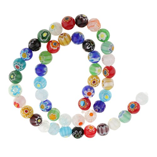 Mix Colors Millefiori Flower Lampwork Glass Round Beads DIY Choose 4mm 6mm 8mm 10mm 12mm - Multicolor, 8 mm (Multi Color Lampwork Glass)