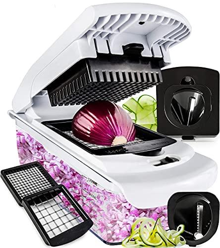 Fullstar Vegetable Chopper – Spiralizer Vegetable Slicer – Onion Chopper with Container – Pro Food Chopper – Black…