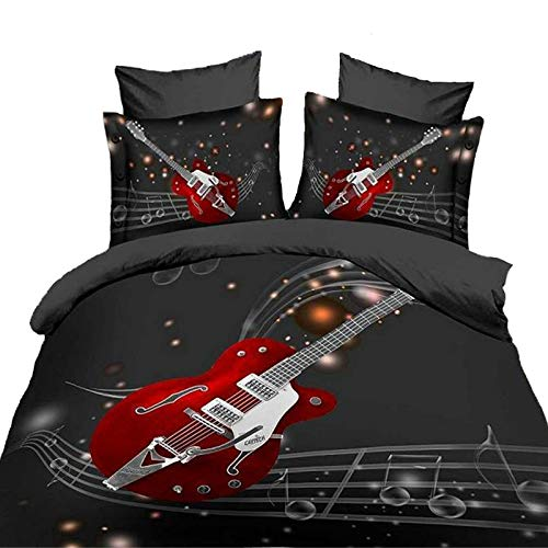 (Suncloris,3d Fashion Red Guitar and Musical Queen Size, 4pc Bedding Sheet Sets,Duvet Cover,Flat Sheet,2* Pillowcase(no Comforter)