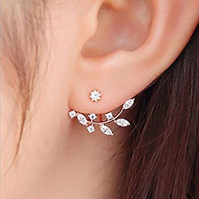 f1348c005 Image Unavailable. Image not available for. Colour: ShiZara Monsoon special  18K Rose Gold plated Leaf earring crystal jacket Double Sided ...