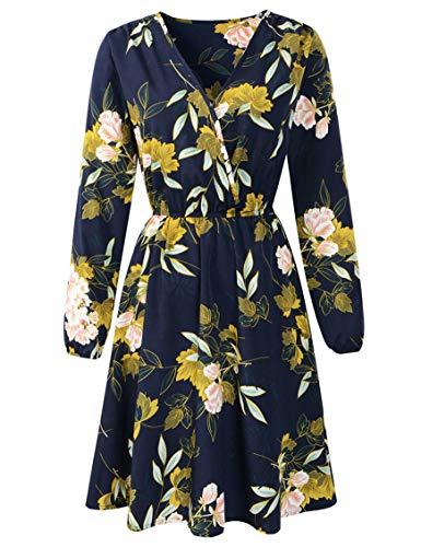 lalc Women's Casual Floral V Neck Long/Short Sleeve Printed Boho Beach Chiffon Slim Fit Dress Blue (California Floral Dress)
