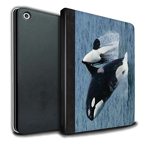 STUFF4 PU Leather Book/Cover Case for Apple iPad 9.7 (2017) tablets / Orca/Killer Whale Design / Marine Wildlife Collection ()