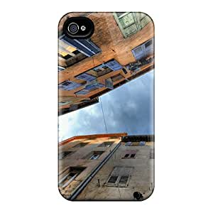 For Iphone 4/4s Premium Tpu Case Cover Looking Up Thru The Alley Hdr Protective Case
