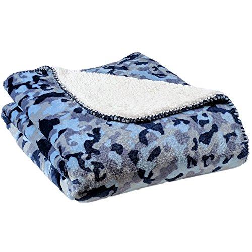 (AVAFORT Velvet Plush Home Fleece Throw Blanket (Camo Blue, 50