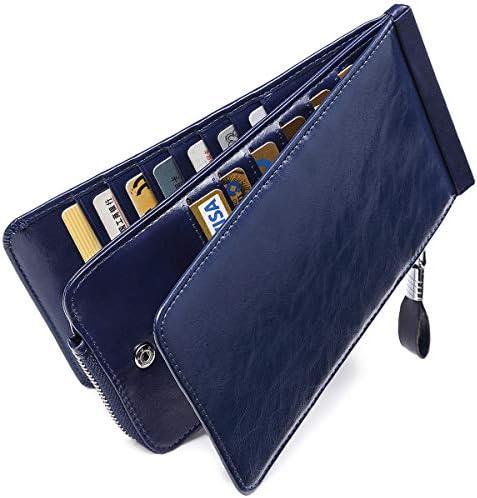 Huztencor tarjeteros para Tarjetas de credito Mujer Hombre RFID Carteras Monederos billeteras Grandes Cuero Piel Naranja
