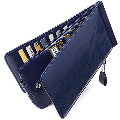 Huztencor Women's Credit Card Holder RFID Blocking Oil Wax Leather Multi Card Organizer Wallet Slim Long Zipper Bi-fold Business Card Case Clutch Wallet with ID Window Blue (FBA) (Best Credit Cards For 640 Score)
