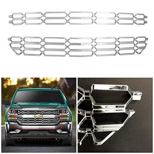 - 16-18 Chevy Silverado 1500 Chrome Plated Grille Skin Bumper Guard Insert Overlay fit LS LT WT