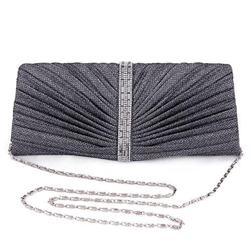 Damara Para Mujer Rectangular de Diamante Juego de funda de bolso bandolera bolsa de noche gris