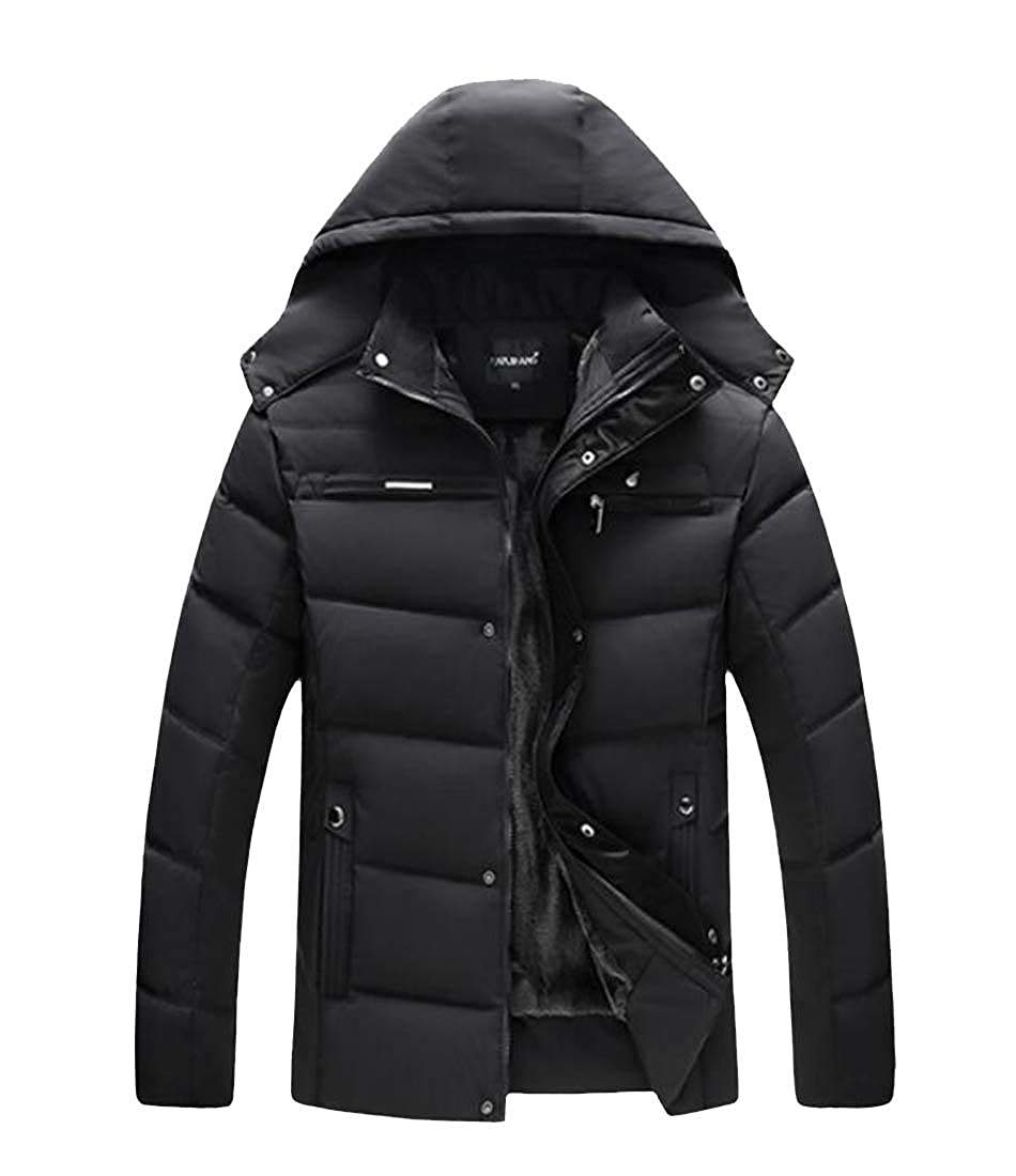 Pandapang Men Down Jacket Thicken Faux Fur Lined Outerwear Hooded Parkas Coat