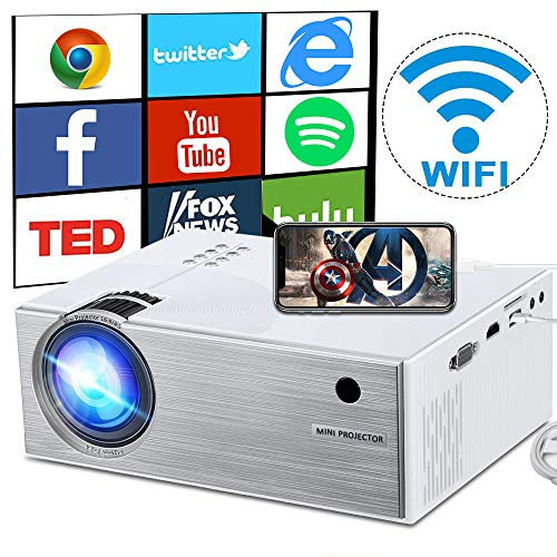 WiFi Projector 2600 Lumens, DIWUER Mini Portable Video Projectors, WiFi Directly Connect Smartphones for Home Outdoor Movie Theater, Support Full HD 1080P, HDMI, VGA, SD Card, AV, USB