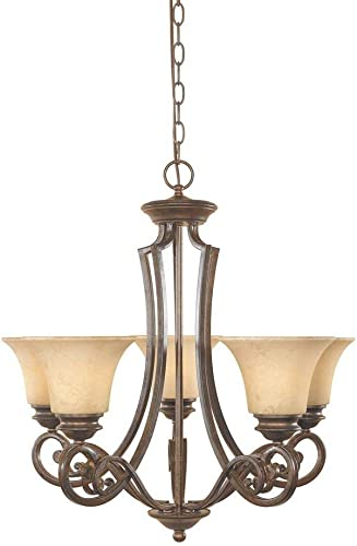 Designers Fountain 81885-FSN Mendocino 5 Light Chandelier, 25.25 x 24.75 x 24.75