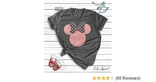 656777ffe Amazon.com: Minnie Mouse Ear T-Shirt, Funny Cute Matching Shirts for  Ladies, Girls Summer Tanks: Handmade