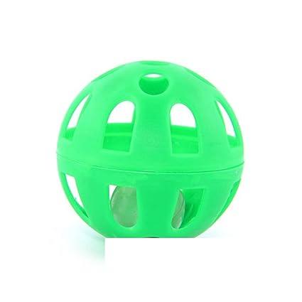 Pelota con cascabel de plástico verde gato my-animalerie: Amazon ...