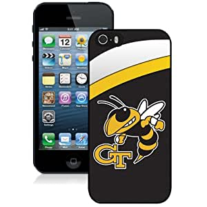 Fashionable And Unique Custom Designed With NCAA Atlantic Coast Conference ACC Footballl Georgia Tech Yellow Jackets 6 Protective Cell Phone Hardshell Cover Case For iPhone 5S Phone Case Black