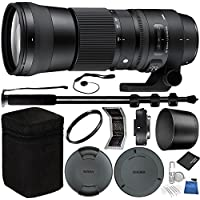 Sigma 150-600mm f/5-6.3 DG OS HSM Contemporary Lens and TC-1401 1.4x Teleconverter Kit for Nikon F Bundle with Manufacturer Accessories & Accessory Kit (19 Items)
