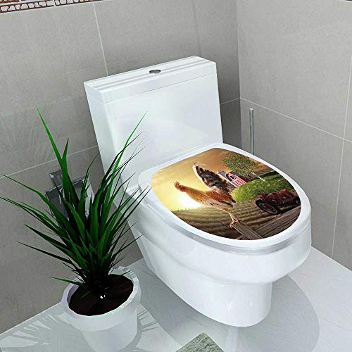 Waterproof self-Adhesive Uhoo Suits & Floor and Rooster perchedupon a Farm Fence Post as The Sun Rises Behind him for Toilet Seat Vinyl Art Stickers W13 x L16