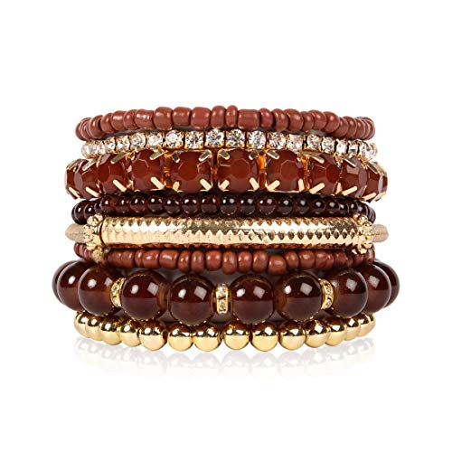 RIAH FASHION Multi Color Stretch Beaded Stackable Bracelets - Layering Bead Strand Statement Bangles (Original - Brown, 7)