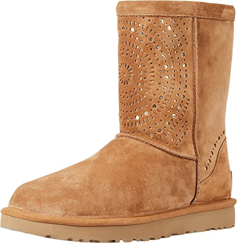 UGG Womens Classic Short Sunshine Perf Boot Chestnut Size 7 (Best Price For Ugg Classic Tall Boots)