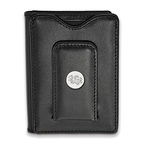 SS Rhodium Plated LogoArt University of South Carolina Black Leather Money Cl, Sterling Silver