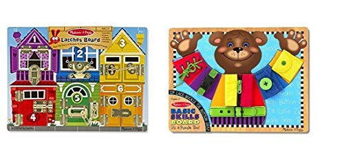 Melissa & Doug Latches Wooden Activity Board With Melissa & Doug Basic Skills Board