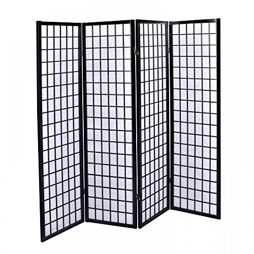 4 Panel Fireplace Screens (New Black 4 Panel Room Divider Screen Oriental Style Shoji Solid Wooden Screen)