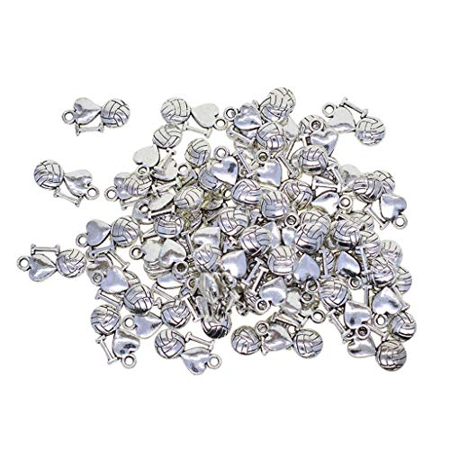 Fenteer 50Pcs Heart DIY I Love Volleyball Charms Pendant for DIY Finding and Crafting, Jewelry Making Accessories 16x9mm (Tibetan Silver)]()