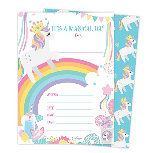 Unicorn Style 4 Happy Birthday Invitations Invite Cards (25 Count) with Envelopes and Seal Stickers Vinyl Girls Kids Party (25ct)